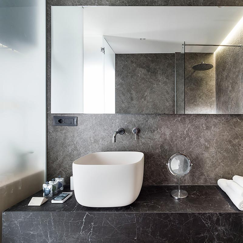 Rouleau granit - Lavabo Laminam